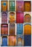 Collage av medeltida ytterdörrar arkivbilder
