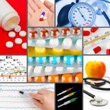 Collage av medicinska bilder arkivbild