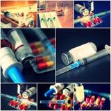Collage av medicinska objekt Ampules preventivpillerar, injektionsspruta Royaltyfria Foton