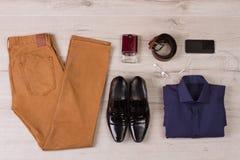 Collage av moderna mäns kläder royaltyfria bilder
