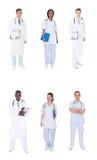 Collage av multietniska doktorer royaltyfri fotografi