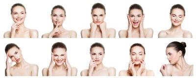 Collage av negativa och positiva kvinnliga framsidauttryck royaltyfri fotografi