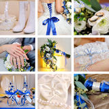 Collage av nio gifta sig foto i blått Royaltyfri Bild