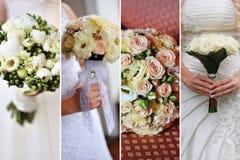 Collage av nio gifta sig foto med buketter royaltyfri foto