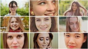 Collage av nio unga härliga internationella flickor av ryskt och asiatiskt utseende stock video