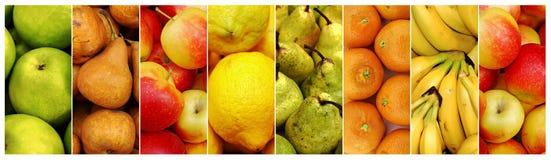 Collage av ny saftig frukt Arkivfoton