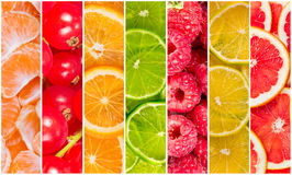 Collage av ny sommarfrukt Royaltyfri Fotografi