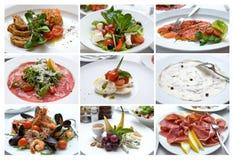Collage av olik italiensk disk lyx för livsstil för utmärkt mat för carpacciokokkonst italiensk mellanmål royaltyfria foton