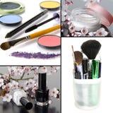 Collage av olik makeup arkivbilder