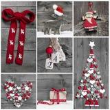 Collage av olik röd, vit och grå julgarnering på Royaltyfria Bilder