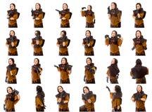 Collage av olika ansiktsuttryck Arkivfoto