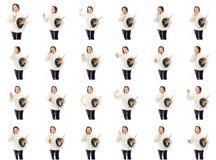 Collage av olika ansiktsuttryck Fotografering för Bildbyråer