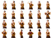 Collage av olika ansiktsuttryck Arkivbilder