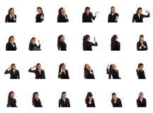 Collage av olika ansiktsuttryck arkivfoton