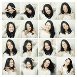 Collage av olika ansiktsuttryck för kvinna Royaltyfria Bilder
