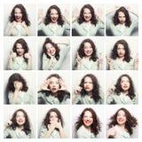 Collage av olika ansiktsuttryck för kvinna arkivbild