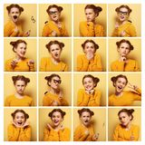 Collage av olika ansiktsuttryck för ung kvinna arkivfoto