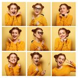 Collage av olika ansiktsuttryck för ung kvinna royaltyfri foto