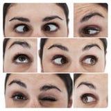 Collage av olika bilder som visar ögonen av en kvinna Arkivbilder