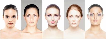 Collage av olika brunnsortkvinnligstående royaltyfri foto