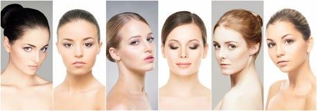Collage av olika brunnsortstående Begrepp för lyfta för framsida, skincare-, plastikkirurgi- och smink royaltyfria foton
