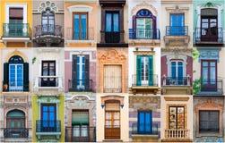 Collage av olika färgrika spanska fönster fotografering för bildbyråer