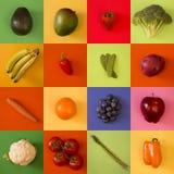 Collage av olika frukter och grönsaker royaltyfria foton