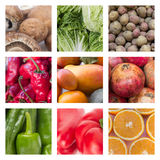 Collage av olika frukter och grönsaker - matbegrepp Fotografering för Bildbyråer