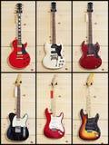 Collage av olika gitarrer arkivfoto