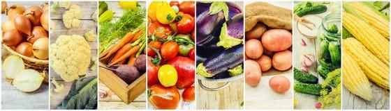 Collage av olika grönsaker Arkivbilder