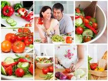 Collage av olika grönsaker royaltyfri bild