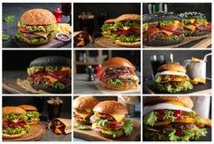 Collage av olika l?ckra hamburgare arkivfoton