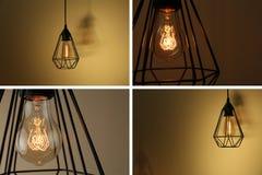 Collage av olika lampkulor royaltyfria foton