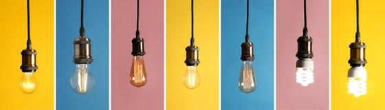 Collage av olika lampkulor royaltyfria bilder