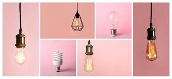 Collage av olika lampkulor arkivfoton