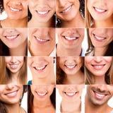 Collage av olika leenden royaltyfria foton