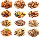 Collage av olika mål med kött och höna Royaltyfri Foto