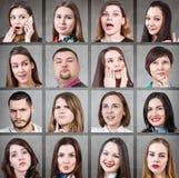 Collage av olika sinnesrörelser för kvinna royaltyfria foton