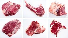 Collage av olika snitt av rå nötköttbiff Arkivbilder