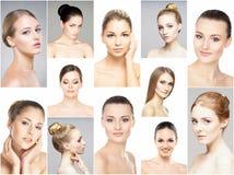 Collage av olika stående av unga kvinnor i makeup royaltyfri foto