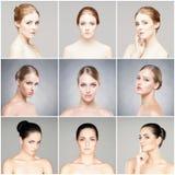Collage av olika stående av unga kvinnor i makeup arkivbild