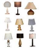 Collage av olika tabelllampor Royaltyfria Bilder
