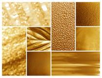 Collage av olika texturerade guld- yttersidor royaltyfri fotografi