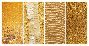 Collage av olika texturerade guld- yttersidor arkivfoton