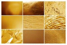 Collage av olika texturerade guld- yttersidor fotografering för bildbyråer