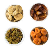 Collage av olika torkade frukter Russin data, torkade aprikors Arkivfoto