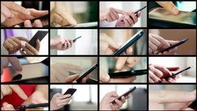 Collage av olikt folk räcker smsande SMS på smartphones
