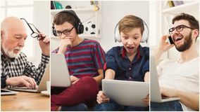 Collage av olikt folk som använder digitala apparater royaltyfria bilder