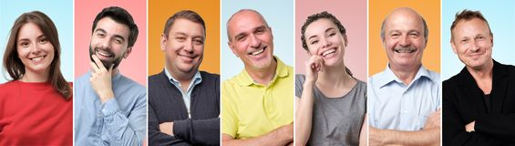 Collage av olikt folk som har bra lynne och att le och att se säkert och lyckligt arkivbild