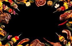Collage av olikt grillat kött arkivbilder